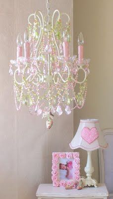 This chandelier is so beautiful for a young girls room. ***** I just like the idea of a fun light or chandelier for the room 5 Light Chandelier, Chandeliers, Purple Chandelier, Rose Fuchsia, Rose Cottage, Little Girl Rooms, Home Design, Pretty In Pink, Perfect Pink