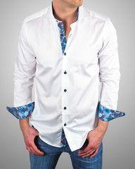 talian shirts for men | Saint Tropez white @ $129.00    European style shirt, blue slim fit dress shirt with unique floral pattern designed by Franck Michel.