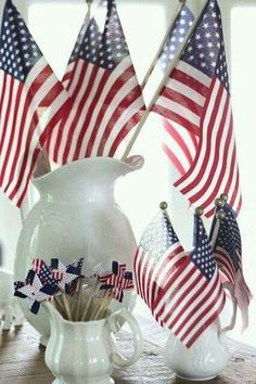 Simple patriotic flags white pottery
