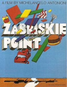 "Movie poster by Milton Glaser (b. 1929), 1970, Unused US poster design for ""Zabriskie Point"" by Antonioni."