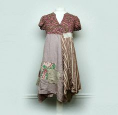 Medium Boho Shabby Chic Dress Funky Artsy Patchwork Dress Rustic Mori Girl Style Eco Friendly Upcycled Clothing by Primitive Fringe by PrimitiveFringe