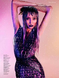 Purple Rain – The autumn-winter edition of Stylist Magazine lets the rain fall for a high impact story featuring this season's trend of purple hues, photographed by John-Paul Pietrus. Model Polina gets wet and wild in the autumn designs of Antonio Berardi, Christopher Kane, Prada, Cavalli and Chanel amongst others chosen by stylist Alexandra Fullerton. Polina's looks are complemented by lavender-dipped tresses courtesy of hair stylist Claire Rothstein. / Makeup by Adam de Cruz