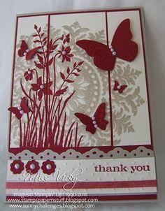 Stampin 'Up ®: Cartes - Merci - j'ai le timbre médaillon et les fleurs, jamais pensé à les mettre ensemble avant