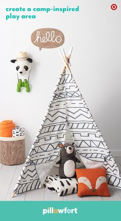 Add a dash of playful whimsy to any space (even the living room!) with Pillowfort's cute play tent and accessories from the Camp Kiddo collection. With outdoor-themed pillows, throws, storage and wall art, kids can have fun imagining they're on the ultimate adventure.
