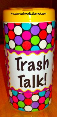 Crazy Speech World: Trash Talk! Game for targeting sounds using Dolche words. (I think I can easily alter this for vocabulary. Articulation Therapy, Articulation Activities, Speech Therapy Activities, Language Activities, Preschool Activities, Speech Therapy Games, Speech Language Pathology, Speech And Language, Play Therapy Techniques