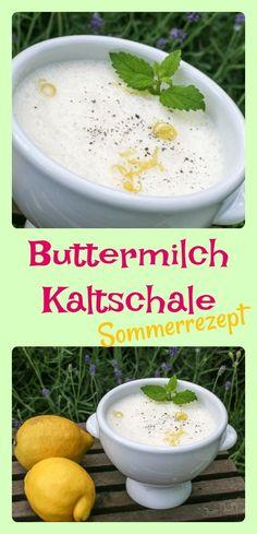 Kaltschale erfrischend mit Zitrone, Vanille und Buttermilch, schnell zubereitet und ideal an Sommertagen oder als Dessert