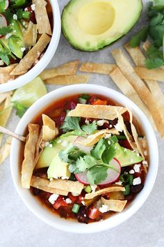 Slow Cooker Black Bean Tortilla Soup Recipe on twopeasandtheirpo. This easy vegetarian tortilla soup is a family favorite. It is made in the crockpot and is great for lunch or dinner. Black Bean Tortilla Soup Recipe, Slow Cooker Tortilla Soup, Vegetarian Tortilla Soup, Slow Cooker Enchiladas, Slow Cooker Soup, Vegetarian Recipes, Vegan Soups, Vegetarian Barbecue, Barbecue Recipes