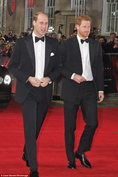 Dressed to impress in black tie, the two Princes take to the red carpet for the premiere of the latest Star Wars instalment which is also the brothers' Hollywood debut - but William drew glances with his choice of footwear Dec 2017