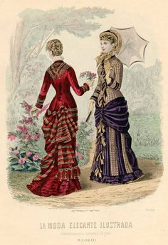 La Moda Elegante Ilustrada 1881 1880s Fashion, Edwardian Fashion, Vintage Fashion, Fashion Forms, Fashion Prints, Historical Costume, Historical Clothing, Vintage Gowns, Vintage Outfits
