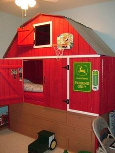 LOVE THIS!  Barn bed cubby for kids room