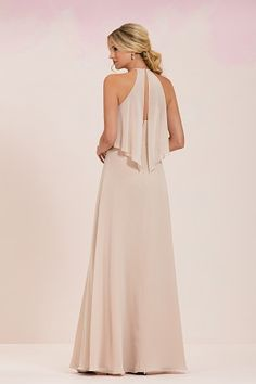 Simple chiffon bridesmaid dress with draping on the bust with jewel neckline, back fabric drape details and plain skirt.