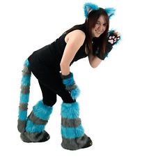 PAWSTAR Cheshire Cat Costume Furry Ears Tail Paws Leg Gray Teal Blue  [ALT]4012
