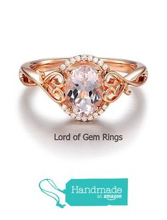 Oval Morganite Engagement Ring Diamonds 14K Rose Gold 6x8mm Floral from the Lord of Gem Rings https://www.amazon.com/dp/B01HE11POC/ref=hnd_sw_r_pi_dp_SEFAxbZPQ7SZG #handmadeatamazon