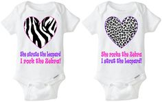 Twin Girls Baby Gift  Gerber Onesie brand by LittleFroggySurfShop - zebra and leopard print heart onesies.. Perfect gift for twin girls!  Available Here: www.etsy.com/shop/LittleFroggySurfShop