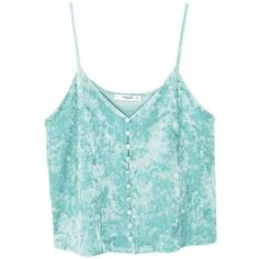 Velvet Top (€11) ❤ liked on Polyvore featuring tops, crop tops, tank tops, tanks, velvet crop tops, thin strap tank top, velvet tank top, crop tank and blue top