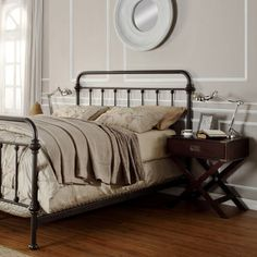 ETHAN HOME Giselle Black Graceful Lines Victorian Iron Metal Bed | Overstock.com