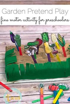 This fine motor garden pretend play activity is perfect for preschoolers! They are learning so much from this project, from vegetable identification, how plants grow and even fine motor exercise.
