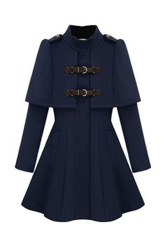 Caped Navy Blue Coat. Description Navy blue, featuring caped design with twin buckles fastener, band collar and full length sleeves, twin insert pockets, flared hem, and polyester lining.. Fabric Woolen Washing Dry Clean Only. #Romwe