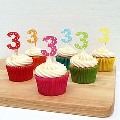 Spotty Number Cupcake Toppers