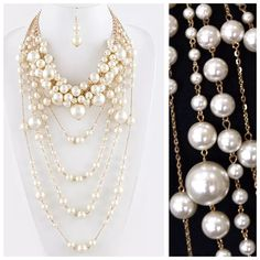 """TS Layered Pearl Detachable Statement Necklace ‼️PRICE FIRM‼️   Faux Pearl Convertible Statement Necklace   Retail $110  ABSOLUTELY FABULOUS STATEMENT PIECE!!!  Get two necklaces in one!   White color faux pearls, This is a serious statement piece. Sure to dress up even the most basic outfit. Necklace approximately 22"""". Longest layer hangs down approximately another 19"""".  Free matching earrings. Earrings are approximately 2.2"""". Please check my closet for many more items. Jewelry Necklaces"""