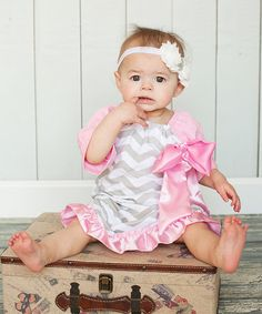Take a look at the Pink & Gray Zigzag Ruffle Dress - Infant & Toddler on #zulily today!