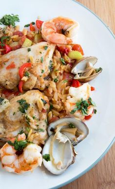 Chicken and Shrimp Orzo Paella