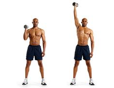 Single-Arm Dumbbell Shoulder Press: Stand holding a dumbbell just outside your shoulder, with your arm bent and palm facing inward. Let your free hand hang to your side or place it on your hip. Set your feet shoulder-width apart, and brace your core (A). Press the weight upward until your arm is completely straight (B). Slowly lower the dumbbells back to the starting position.