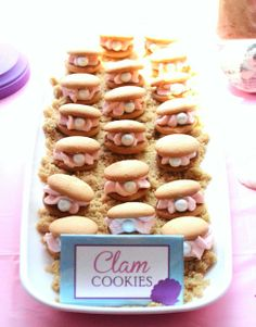 """Clam"" cookies at a Mermaid Birthday Party! See more party ideas at CatchMyParty.com! #girlparty"