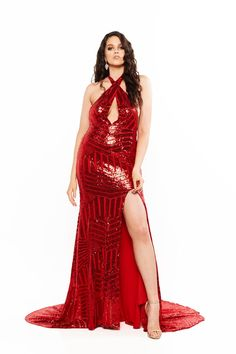 A&N Curve Cleopatra - Backless Multiway Dress with Slit in Red – A&N Luxe Label Curve Prom Dresses, Formal Dresses, Multi Way Dress, Sequin Gown, Pretty Lingerie, Metallic Dress, Slit Dress, Cleopatra, Plus Size Dresses