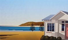 Brian Dahlberg // Ngawi II Oil on canvas, 55 x 95cm Regional surrealism #Art #Landscape #Oil #Painting #NewZealand This small holiday town, and fishing settlement is two hours drive from Wellington, and within five kilometres of Cape Palliser. It nestles at the southern most point of New Zealand's North Island. The town is made up of mainly small wooden houses.