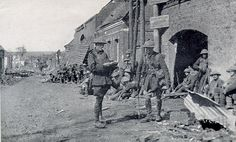 WWI, 31 March 1917, Roisel; Troops rest before the attack on Hesbecourt.