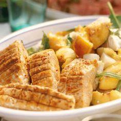 Honey Grilled salmon with potato & persikosallad