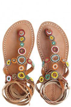 Conroy Artisan Beaded Leather Wrap Sandal  | Calypso St. Barth