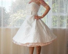 1950s Rockabilly Wedding Dress 'Lacey' with Lace by PixiePocket