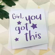 Good luck card, exams card, off to uni, motivational card, get well card, card for her, card for daughter, travel gift, positive quote by AprilDaysDesigns on Etsy