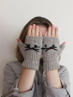 FAST SHIPPING Gift For US! Fingerless Gloves Crochet Pattern, Mittens Pattern, Knit Mittens, Knitted Gloves, Wrist Warmers, Hand Warmers, Hello Kitty Crochet, Knitted Cat, Diy