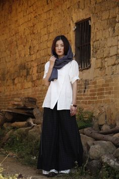 Easy/Womens Clothing Women Pants Wide Leg Pants Casual Pants Loose Skirt Plus size Pants Harem Pants Drop Crotch Black Plaid Capris ALL SIZE