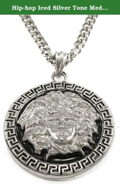 """Hip-hop Iced Silver Tone Medusa Head Pendant Necklace Free 24"""" Chain. Each pendant is crafted from molds of fine jewelry with care and precision to make a bold statement. Pendants are given a dignified heavy look like those worn by Hip Hop Artists & Producers. Genuine embedded Cubic Zircons that glisten like real diamonds! Each pendant is about 1.5"""" X 1.5"""" including the bail includes a complimentary 24"""" inch matching chain. Chains may vary."""