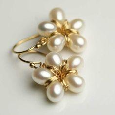 Pearl Flower Earrings Gold Fill Wire Wrapped by fussjewelry