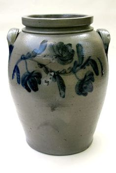 "Circa 1850: 12"" Tall, 7"" Wide at Top, 6 1/2"" at Bottom  The great form and abundant cobalt floral decoration on this early salt glazed crock give it superb primitive appeal."