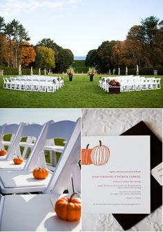 Baby pumpkins doubled as a program weight Fall wedding could do mini pumpkins as favor w/ sayings on them??? Maybe??? Luv the setting