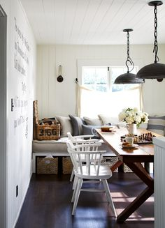 www.triciajoyce.com: eclectic semi industrial style Dining Room: bits of country, bits of coastal, the writing's on the wall . . .