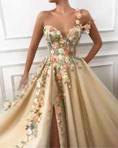 One Shoulder Floral Long Formal Prom Dresses Evening Fancy Dress – Laurafas. - One Shoulder Floral Long Formal Prom Dresses Evening Fancy Dress – Laurafashionshop A Line Prom Dresses, Prom Party Dresses, Flower Dresses, Ball Dresses, Ball Gowns, Evening Dresses, Dress Prom, Dresses Dresses, Fashion Dresses
