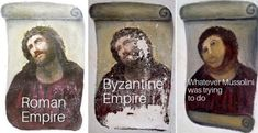 """The three versions of the """"ecce homo"""" fresco of Jesus. From left, the original version by Elías García Martínez, a painter; a deteriorated version of the fresco; the restored version by Cecilia Giménez. Paintings Of Christ, Jesus Painting, Homo, Bad Art, Archaeological Discoveries, Spanish Artists, Kirchen, Oeuvre D'art, Art History"""
