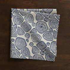 Screenprinted by hand, the Dev dinner napkin scatters global-inspired indigo medallions on natural, unprocessed cotton. Due to their handcrafted nature, the napkins will vary slightly in pattern and color. Coordinating placemat also available.