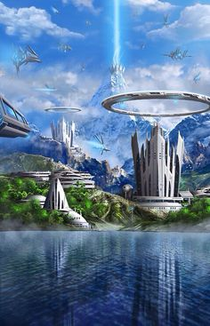 New Science Fiction World Futuristic Architecture Ideas Fantasy City, Fantasy Places, Sci Fi Fantasy, Fantasy World, Space Fantasy, Arte Sci Fi, Futuristic City, Futuristic Architecture, Sci Fi Stadt