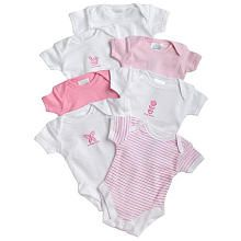 SpaSilk 7-Pack Assorted Bodysuits- Pink