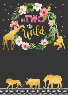 Shop In Two The Wild Birthday Invitation Jungle Animals created by PixelPerfectionParty. Safari Theme Birthday, Second Birthday Ideas, Girls Birthday Party Themes, Birthday Pictures, Birthday Party Decorations, 2yr Old Birthday, 2 Year Old Birthday Party Girl, Jungle Animals, Birthday Invitations