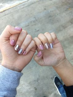 Gelish nails pink chrome glitter