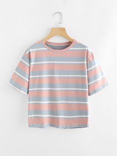 Short Sleeve T-Shirts. T-Shirts Designed with Round Neck. Regular fit. Striped design. Trend of Summer-2018. Designed in Multicolor. Fabric is very stretchy.